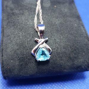 Jewelry - Aquamarine and 14k White Gold Necklace